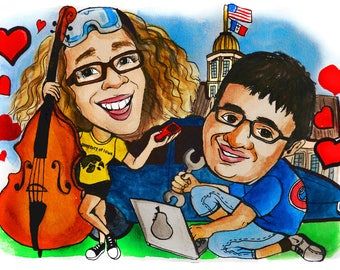 Valentines day Caricature gift. Personalized cartoon gift for the loved one.