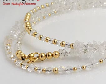 Crystal and 14k Gold Waist Beads, Wedding Gift, African Waist Beads, Waist Beads, 14k bead necklace, Waistbeads, gold waist beads,  zmw23114