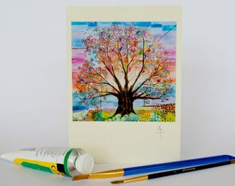 Art Nouveau Tree of Life Psychedelic Greeting Card Colorful Original Pagan Folk and Mindfulness Art