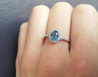 Topaz Diamond Halo Engagement Ring