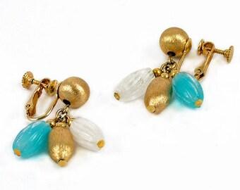 Vintage Napier drop earrings blue summer earrings dangle earrings clip on earrings screw back  bestfriend earrings bridesmaid gift 1950s