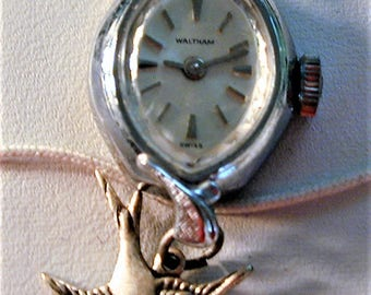 Steampunk Vintage 50's Waltham (non-working) Watch Pendant with Charm & Chain OOAK #20