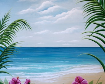 Tropical View, Acrylic Painting by Artist Susan Hunt Johnson, Paper Print on Artist Quality Archival Paper