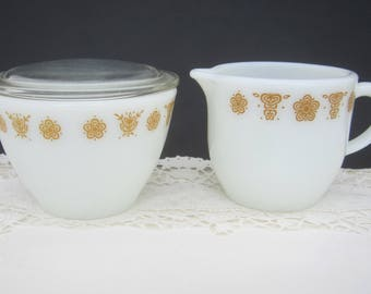 Pyrex Butterfly Gold Cream and Sugar Set ~ 1970's Vintage Retro Flowers ~ Goes with Corelle by Corning Glass