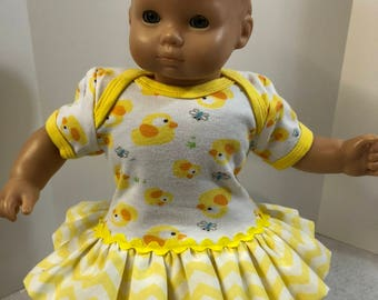 "15 inch Bitty Baby Clothes, Adorable ""Yellow BABY DUCKS"" Ruffle & Trim Dress, 15 inch AG Bitty Baby Doll and Twin Dolls"