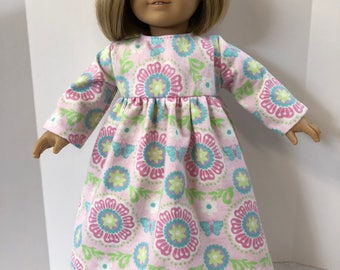 "18 inch Doll Clothes, ""BUTTERFLIES, Flowers & Cool PINK Design"" Nightgown, 18 inch AG American Doll, 18 inch Doll Clothes, Ready for Bed!"