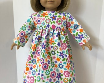 "18 inch Doll Clothes, Adorable ""SPARKLING Colorful FLOWERS"" Nightgown, 18 inch AG American Doll, 18 inch Doll Clothes, Ready for Bed!"