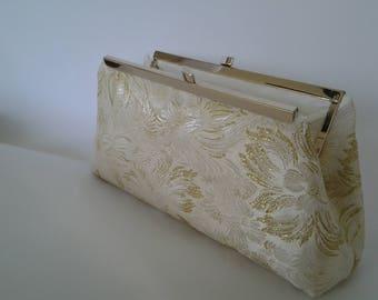 gold ivory brocade wedding evening prom bridal  summer purse clutch BBsCustomClutches