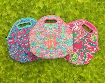Neoprene Lilly Inspired Lunch Box, Lunch Tote, Lunch Bag