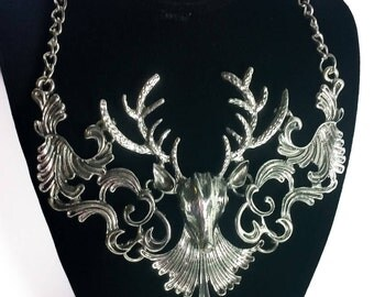 Silver Deer Head Bib Collar Necklace