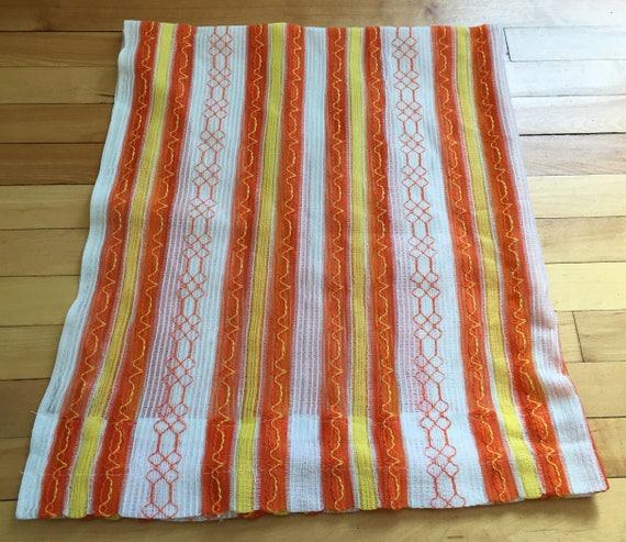 Vintage 1960s Orange Yellow Stripe Sheer Curtain Panels