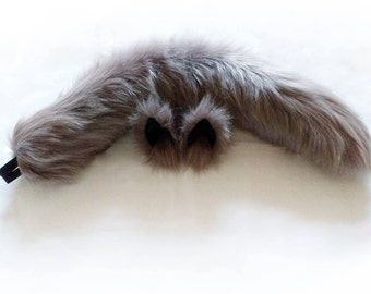 """Realistic 26"""" warm grey wolf tail with belt loops (black elastic) with optional matching grey and black wolf ear hair clips"""