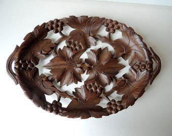 Wooden Tray  Black Forest Hand Carved
