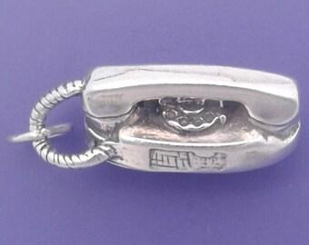 Rotary TELEPHONE Charm .925 Sterling Silver Princess Phone Pendant - lp1100
