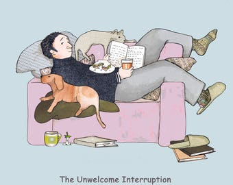 The Unwelcome Interruption, a man , a dog and a cat enjoying a moment of relaxation...when oh no , they're interrupted! ..grrrr !