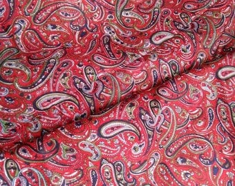 Indian Red Paisley Print Silk Sari Fabric -Dress Shirt Blouse Scarf  Wrap Sarong Halter Silk -  DIY Fashion or Home Decor  3.4 yds / 3.10 ms