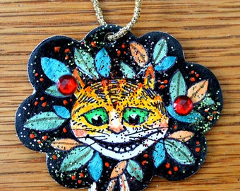 Cheshire Cat Ornament - Hand Painted - One of a Kind