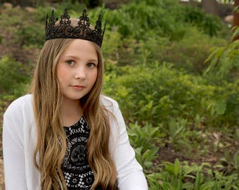 Black Lace Crown Queen - Quinn - Lace Crown - Maleficent - Adult - Toddler - Princess - Photo Props - Birthday - Regal - Evil - Goth