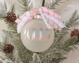 monogram babys first christmas ornament personalized babys first christmas ornament christmas 2017 baby shower gift monogram