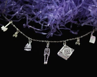 Horror Necklace, Knife Necklace Chain Choker, Skeleton Necklace, Horror Jewelry Creepy Cute Pastel Goth Clothing Book Necklace Vintage Loser