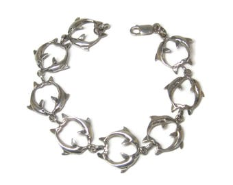 Vintage Sterling Dolphin Bracelet 7.25 Inches