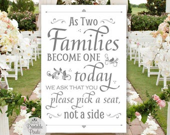 Pick A Seat Not A Side Sign, Grey Lettering, Printable, Wedding, As Two Families Become One, No Seating Plan (#NSP2A)