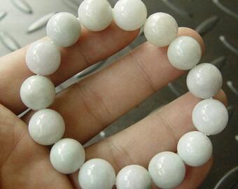 """White Jadeite """"翡翠"""" icy bead bracelet grade A"""