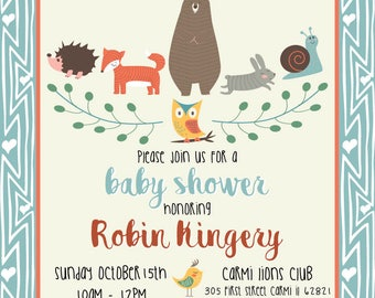 Baby Boy or Girl Woodland theme Baby Shower Invitation (DIGITAL COPY)