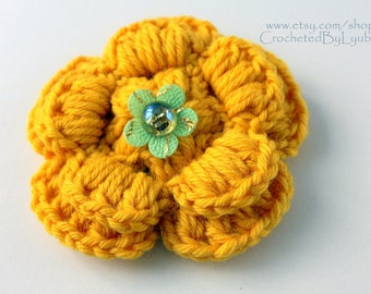 Yellow Crochet Flower Brooch, 3d Flower, Large Crochet Flower, Big Flower, Unique Crochet Gift For Her, Hand Crocheted Item, Ready to Ship