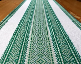 Embroidered green table runner ethnic table runner green linen table runner boho table runner Ukrainian table linens Ukrainian embroidery