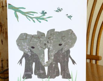 Elephant Twins Card, Animal Card, African card, cut paper art, baby greeting card, nursery, kids, african art, children card