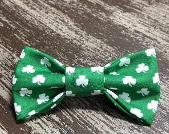 ST. PATRICK'S DAY Bow Tie Collar Attachment & Accessory for Dogs and Cats / Four Leaf Clovers