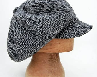 Peaky blinder cap, Harris tweed cap, Womens captain cap, Men Harris tweed cap, Mens Scottish beret, Tweed baker boy cap, Mens peaked cap
