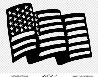 American Flag Digital Cut Files - Digital Files - American Flag SVG - Flag DXF -  Flag EPS - American Flag png - Vector - U.S.A Flag Clipart