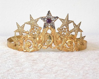 Antique Victorian Adjustable Rhinestone Crown w/ Stars ~ Vintage Shabby French Cottage Chic ~ For Wedding, Display, Statue or Manequinn