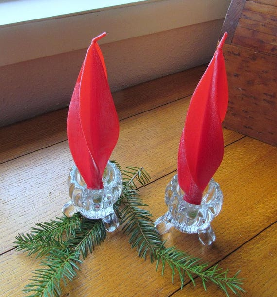 Red Spiraled Hurd Beeswax Candles