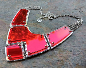 Armour Drop - Laser cut acrylic and steel statement necklace