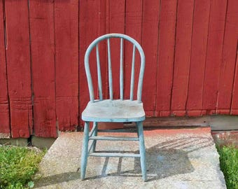 Vintage Primtive Spindle Back Wood Chair,Dining Chair,Accent Chair,Garden Decor