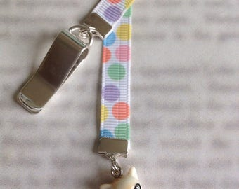 Cat bookmark / Kitten bookmark / Cute Cat bookmark - Attach to book cover then mark the page with the ribbon. Never lose your bookmark