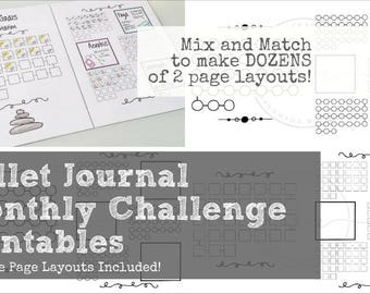 Bullet Journal 31 Day Tracker / Challenge Set - Includes 8 (EIGHT!) single page Printable  / Instant Download layouts!