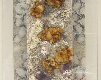 TEXTILE ART, EMBROIDERY - 'Barnacles' , embroidered art, fibre art, stitched art, art, original art.