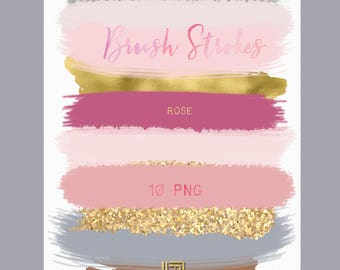 Brush Strokes Clip Art. Rose. Candy pink, gold, grey, nude, berrie pink, glitter, palette. Watercolor clipart. Digital Design Resource.