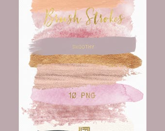 Brush Strokes Clip Art. Smoothy. Pink, watercolor pink, white, nude, palette. Watercolor clipart. Digital Design Resource.