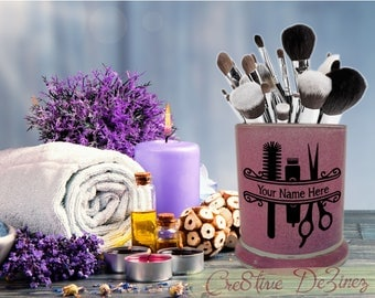Gift for Salon Hair Stylist, Glitter Jar for Makeup Brushes Pens Pencils, Desk Organizer, Makeup Storage Organizer, Bathroom Vanity Jar