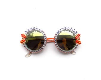 "Phish Meatstick ""Shocks My Brain"" Hand Decorated Sunglasses with tiny hot dog MEATSTICKS!"