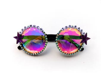 """Grateful Dead """"Too Much Too Fast"""" Shakedown Street decorated kaleidoscope glasses, trippy diffraction glasses"""