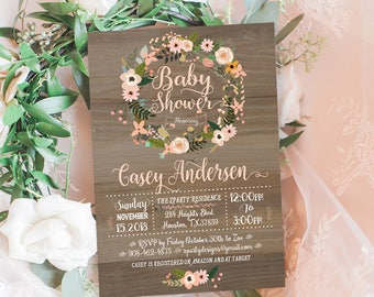 Coral baby girl shower invitation Invitation, Vintage Wood girl baby Shower invite,  Floral wreath Invite, Coral. free thank you card, WR