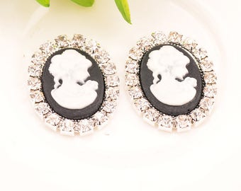 Rhinestone Cameo Embellishment For Wedding Decoration 24MM*19MM 20pcs/Lot Flat Back Silver Color