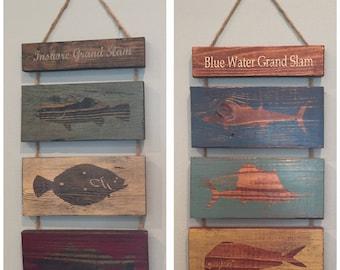 Fishing Grand Slam Signs - Wood Fishing signs - Fisherman sign - Grand Slam - Inshore Grand Slam - Blue Water Grand Slam - Wood Fish Sign
