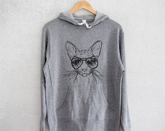 Sammy the Sphinx Cat Hoodie Grey French Terry - Unisex Slim Fit
